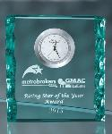 Jade crystal clock award, Fine quality crystal awards for sports and corporate leaders