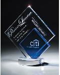 Blue/clear crystal double diamond trophy awards for special events and banquets.  awards for  tournamnets and champions