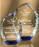 optic crystal custom award, optic crystal blue flame accent trophy awards